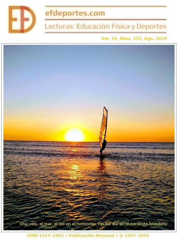 Una vela, el mar, el sol en el horizonte. Fin del día en el nordeste brasileño